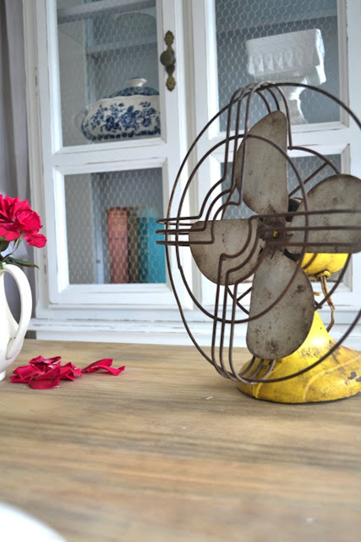 Yellow vintage fan.