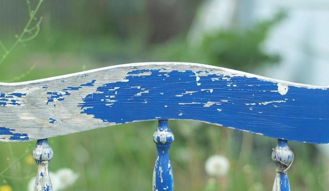 Blue vintage bed headboard.