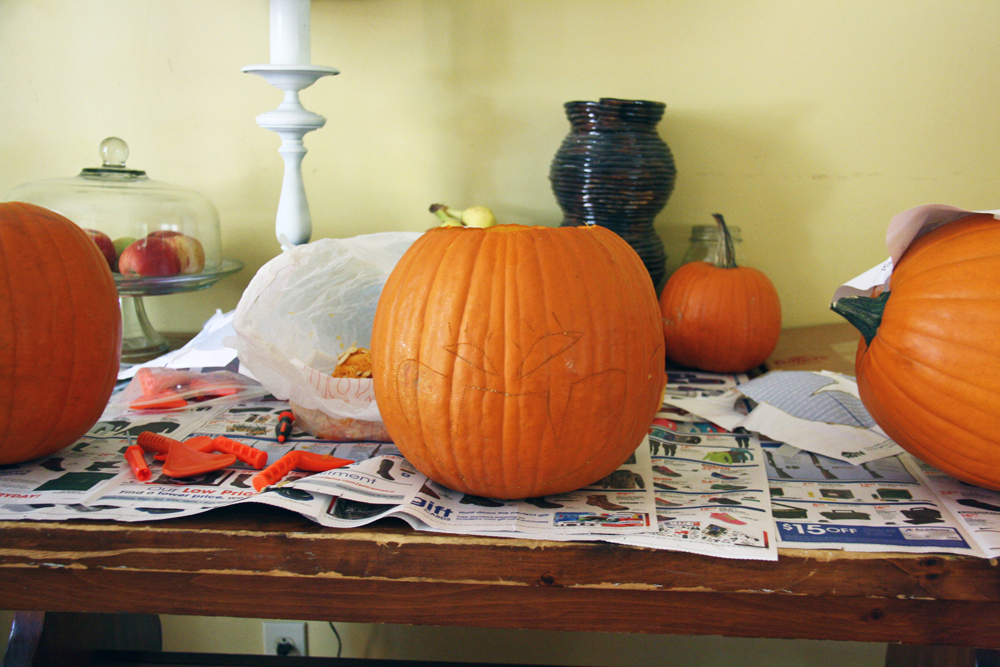 Partly Carved Pumpkin | redleafstyle.com