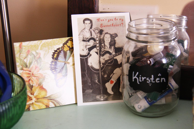 Cards and a mason jar.