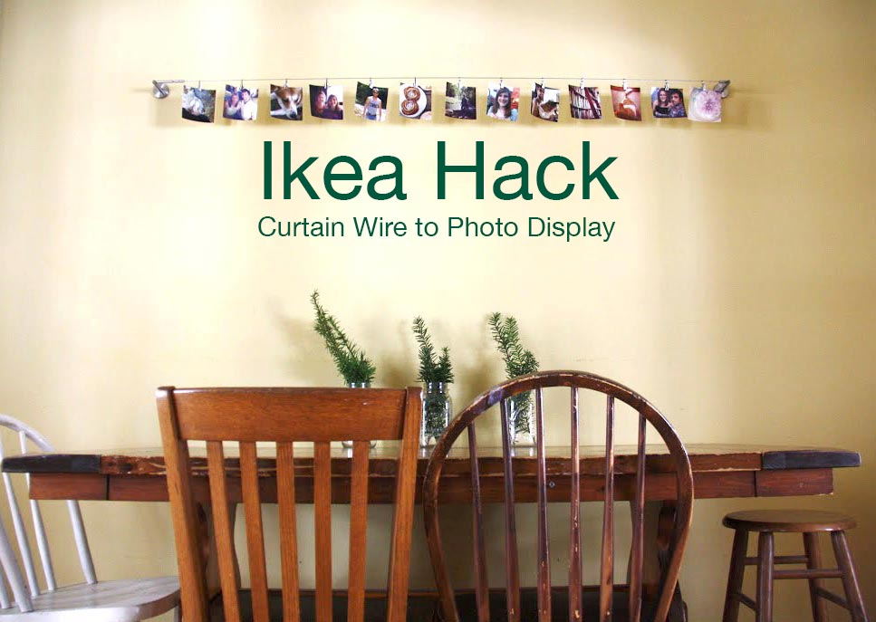Ikea hack curtain wire to photo display for Curtain display ideas