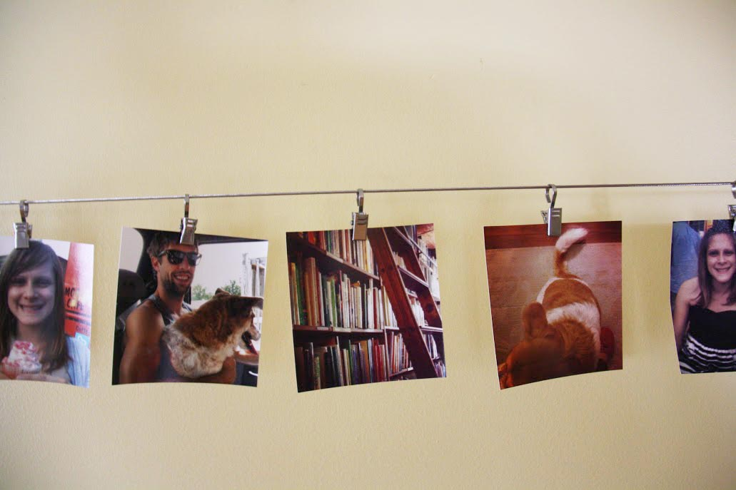 Hanging Pictures On Wire ikea hack: curtain wire to photo display - red leaf stylered leaf