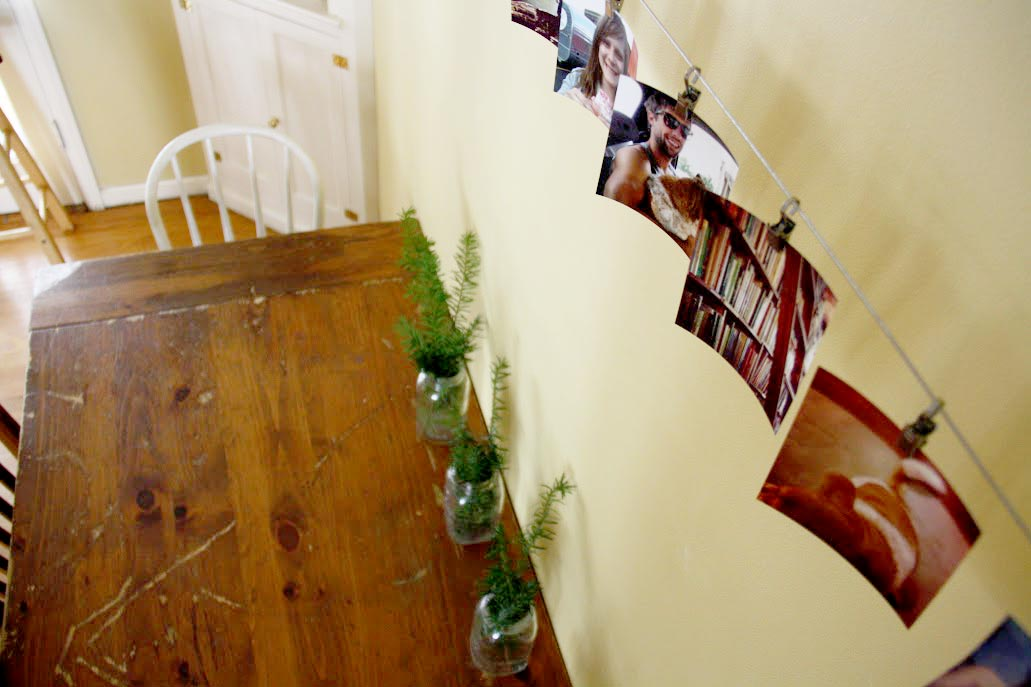 Photo display on a wire.