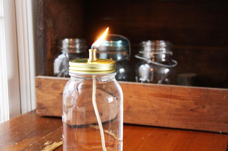 Mason Jar Oil Lamp Red Leaf Style