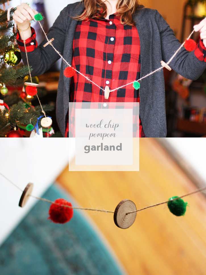 DIY Christmas Garland: Wood Chip Pompom Garland | redleafstyle.com