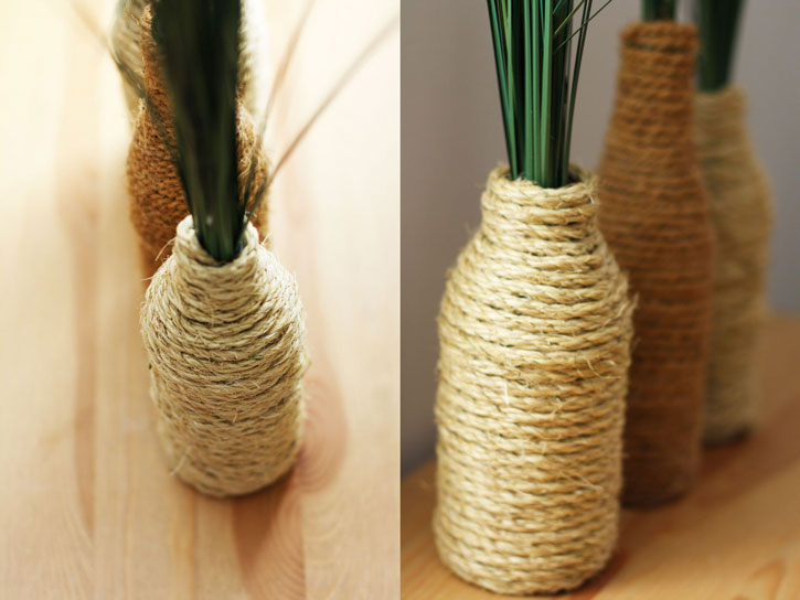 DIY Rope-Wrapped Bottles for a Farmhouse Look | redleafstyle.com