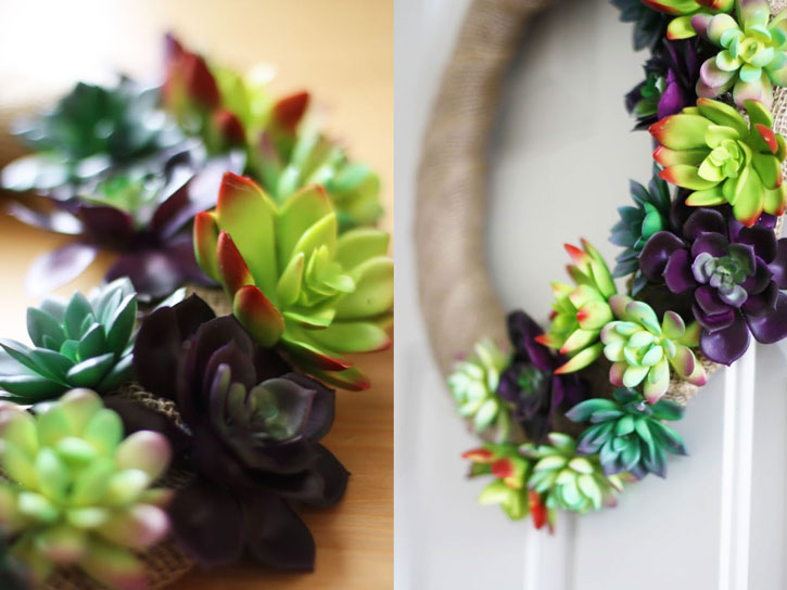 How to Make a Faux Succulent Wreath | redleafstyle.com